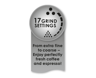 Individual degree of grinding with 17 settings