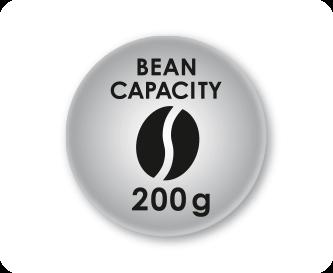 Maximum capacity 200g of coffee beans