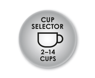 Coffee quantity settings for 2-14 cups