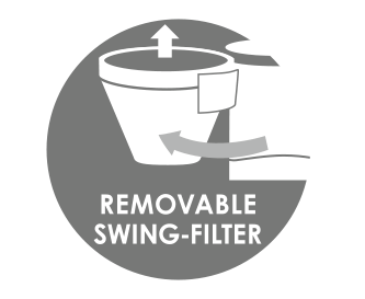 Removable swivel filter with drip stop